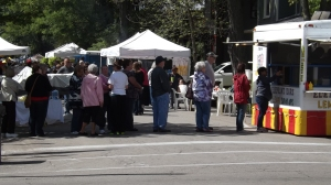 Festival goers line-up to purchase food, crafts, and other items from vendors at the 38th Annual Old Washington Street Festival.